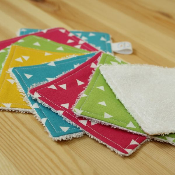 Lot lingettes lavables triangles multicolore